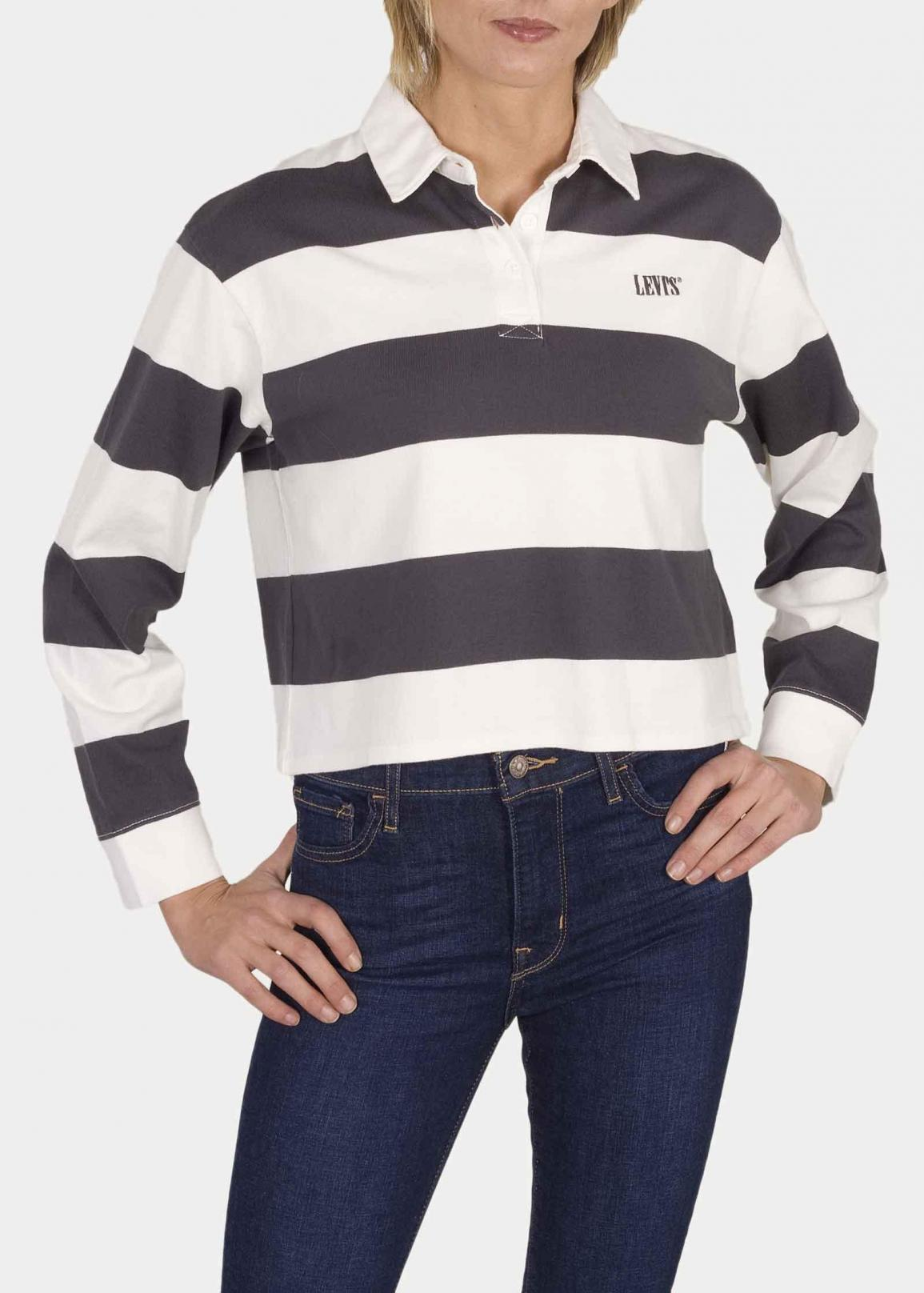 Levi's® Letterman Rugby - Amy Stripe Forged Iron