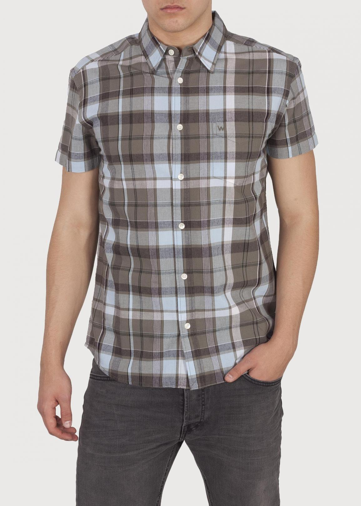 Wrangler® Short Sleeve 1 Pocket Shirt - Dusty Olive