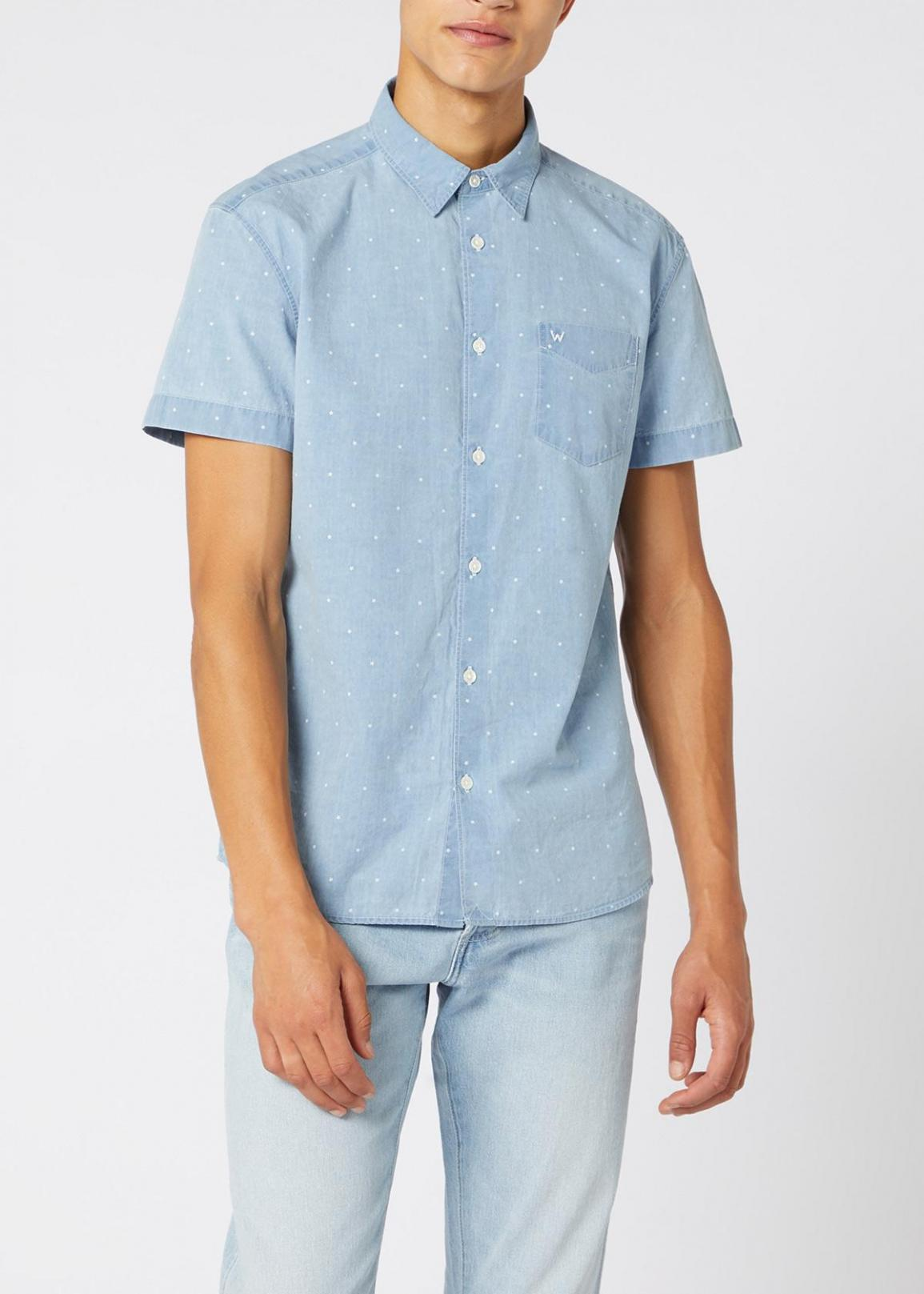 Wrangler® Short Sleeve One Pocket Shirt - Cerulean Blue