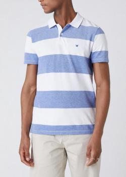 Wrangler® Short Sleeve Stripe Polo - Surf Blue