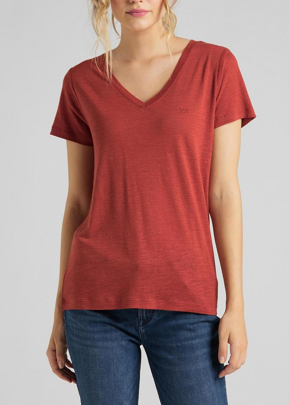 Lee® V Neck Tee - Red Ochre