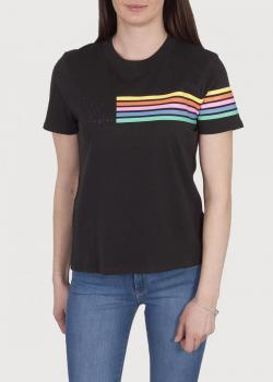 Wrangler® Logo Rainbow Stripe Tee - Faded Black