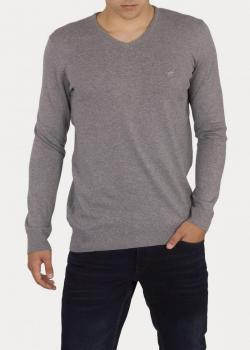 Mustang® Basic V - Neck Jumper - Mid Grey Melange