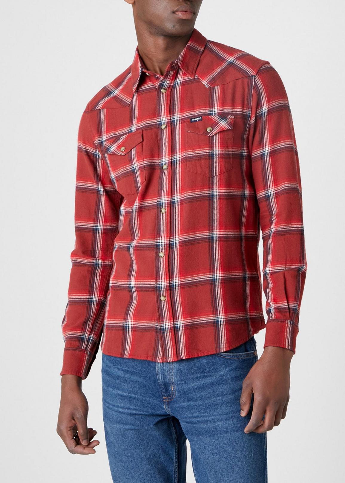 Wrangler® Long sleeve Western Shirt - Rusty Brown