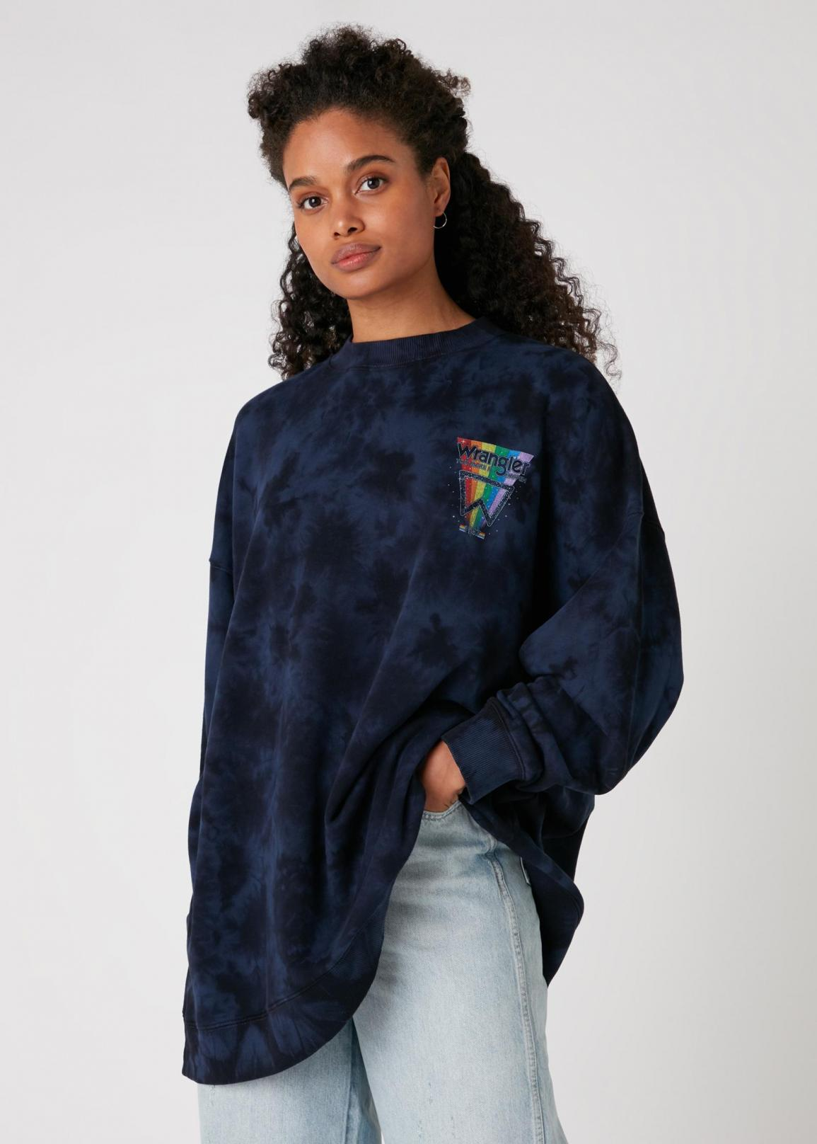 Wrangler® Oversized Sweater - Navy Irregular Dye
