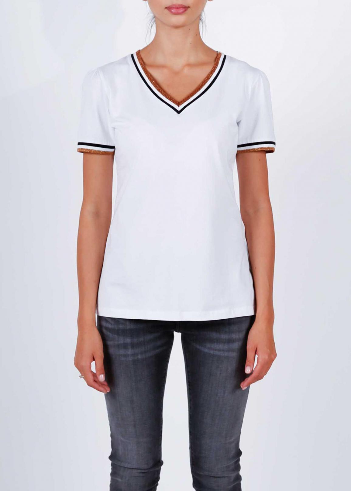 Cross Jeans® T-shirt Ringer V-Neck - White